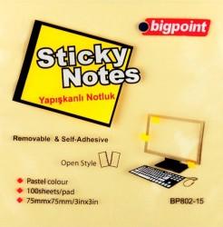 Bigpoint - Bigpoint Yapışkanlı Not Kağıdı 75x75mm Sarı