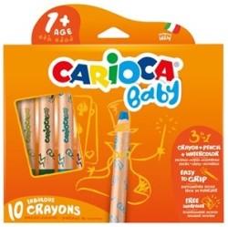 Carioca - Carioca 3 in 1 Jumbo Bebek Ahşap Gövdeli Boya Kalemi 10′lu