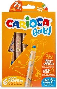 Carioca 3 in 1 Jumbo Bebek Ahşap Gövdeli Boya Kalemi 6'lı