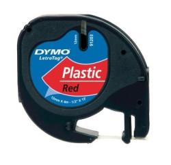 Dymo - Dymo LetraTag Plastik Şerit (12 mm. x 4 mt.) Kırmızı (59424) - 10 lu pk.