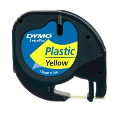 Dymo - Dymo LetraTag Plastik Şerit (12 mm. x 4 mt.) Sarı (59423) - 10 lu pk.