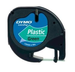 Dymo - Dymo LetraTag Plastik Şerit (12 mm. x 4 mt.) Yeşil (59425) - 10 lu pk.