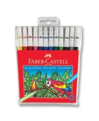 Faber Castell - Faber-Castell Keçeli Kalem 12 Renk