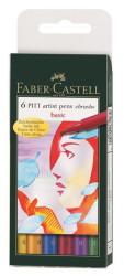 Faber Castell - Faber-Castell Pitt Çizim Kalemi Fırça Uç Ana Renkler 6 lı poşet