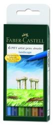 Faber Castell - Faber-Castell Pitt Çizim Kalemi Fırça Uç Manzara 6 lı poşet