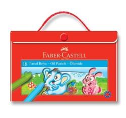 Faber Castell - Faber-Castell Plastik Çantalı Tutuculu Pastel Boya 18 Renk