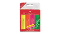 Faber Castell - Faber-Castell Şeffaf Gövde Fosforlu Kalem 1546 4'lü Poşet