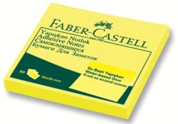 Faber Castell - Faber-Castell Yapışkan Notluk 50x50mm Fosforlu Sarı