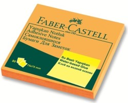 Faber Castell - Faber-Castell Yapışkan Notluk 75x75mm Fosforlu Turuncu