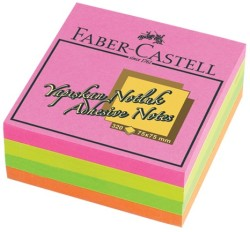 Faber Castell - Faber-Castell Yapışkan Notluk 75x75mm Karışık Fosforlu Renkli Küp