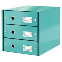 Leitz - Leitz Click & Store 3 Çekmeceli Evrak Rafı Metalik Buz Mavisi
