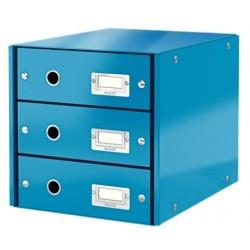 Leitz - Leitz Click & Store 3 Çekmeceli Evrak Rafı Metalik Mavi