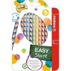 Stabilo - Stabilo Easycolors Sol 12 Renk + Kalemtraş Askılı Paket