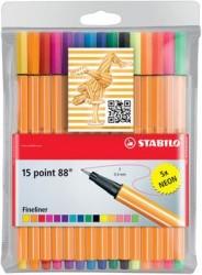 Stabilo - Stabilo Point 88 10 + 5 Floresan Renk Askılı Paket