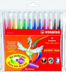 Stabilo - Stabilo Power Max Kalın Uçlu Keçeli Kalem 12 li Paket