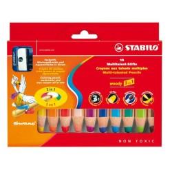 Stabilo - Stabilo Woody 3 in 1 10 Renk + Kalemtraş