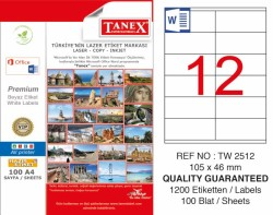 Tanex - Tanex Laser Etiket 105x46mm