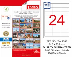 Tanex - Tanex Laser Etiket 64.6x33.8mm
