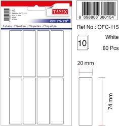 Tanex - Tanex Ofis Etiketi 20x74mm Beyaz