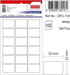 Tanex - Tanex Ofis Etiketi 22x32mm Beyaz