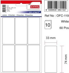 Tanex - Tanex Ofis Etiketi 33x74mm Beyaz