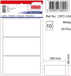 Tanex - Tanex Ofis Etiketi 48x100mm Beyaz