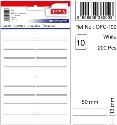 Tanex - Tanex Ofis Etiketi 50x13mm Beyaz