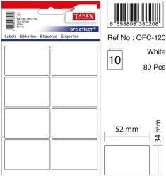 Tanex - Tanex Ofis Etiketi 52x34mm Beyaz