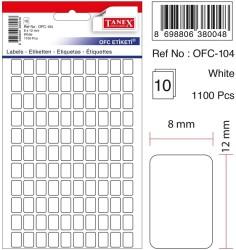 Tanex - Tanex Ofis Etiketi 8x12mm Beyaz
