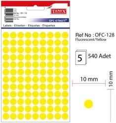 Tanex - Tanex Yuvarlak Ofis Etiketi 10mm Fosforlu Sarı