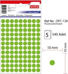 Tanex - Tanex Yuvarlak Ofis Etiketi 10mm Fosforlu Yeşil