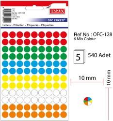 Tanex - Tanex Yuvarlak Ofis Etiketi 10mm Karışık Renkli