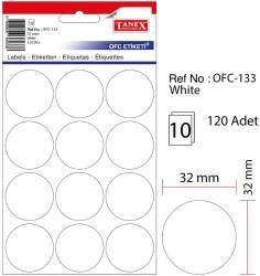Tanex - Tanex Yuvarlak Ofis Etiketi 32mm Beyaz