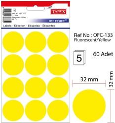Tanex - Tanex Yuvarlak Ofis Etiketi 32mm Fosforlu Sarı