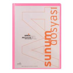 Umix - Umix Önden Cepli Sunum Dosyası A4 80'li Pembe