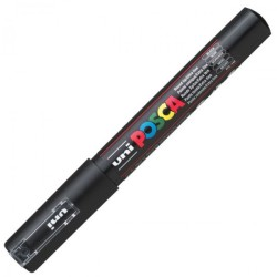 Uni-Ball - Uni PC-1M Posca Renkli Poster Markörü (0.7 mm) Siyah