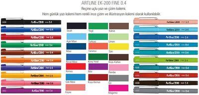 Artline 200 Fineliner 0.4 mm Çizim Kalemi 20 Renk Set