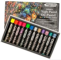 Bigpoint - Bigpoint Artists's Yağlı(Oil) Pastel Boya 12'li Metalik ve Fosforlu Renkler