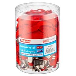 Bigpoint - Bigpoint BP682-25 Metal Klipsli Yaka İpi Kırmızı Yerli Üretim - 50 lik Kavanoz