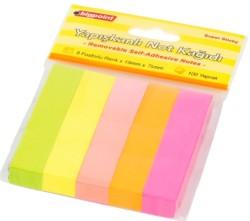 Bigpoint - Bigpoint Yapışkanlı Not Kağıdı 5 Neon Renk 15x75mm