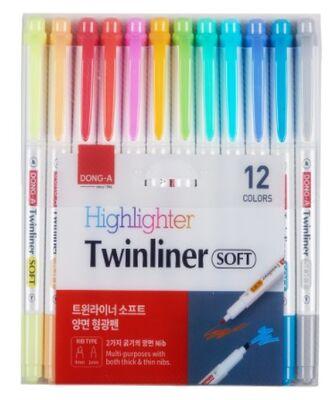 Dong-A Twinliner Soft Fosforlu Kalem Çift Taraflı 12 li Set