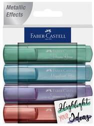 Faber Castell - Faber-Castell Fosforlu Kalem Metalik Renk 4 lü