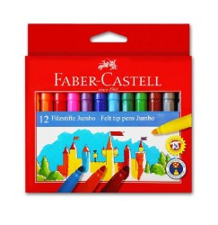 Faber Castell - Faber-Castell Jumbo Keçeli Kalem 12 Renk