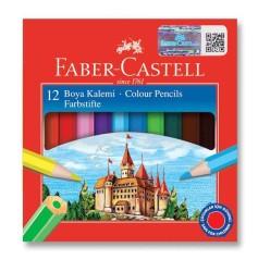 Faber Castell - Faber-Castell Karton Kutu Boya Kalemi 12 Renk Yarım Boy