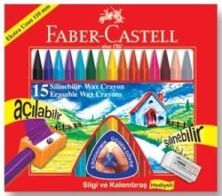 Faber Castell - Faber-Castell Silinebilir Mum Boya 15 Renk