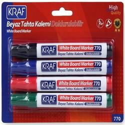 Kraf - Kraf 770-4 Beyaz Tahta Kalemi Doldurulabilir 4'lü
