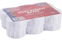 Kraf - Kraf Motex Fiyat Etiketi Çizgili Beyaz 12 mm x 21 mm 12'li