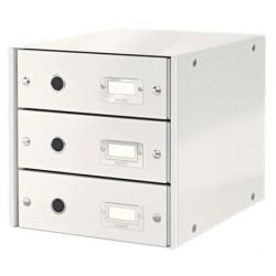 Leitz - Leitz Click & Store 3 Çekmeceli Evrak Rafı Metalik Beyaz