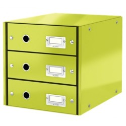 Leitz - Leitz Click & Store 3 Çekmeceli Evrak Rafı Metalik Yeşil