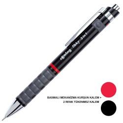 Rotring - Rotring Tikky 3in1 0.5 mm Siyah Versatil Kalem + Tükenmez Kalem Siyah ve Kırmızı